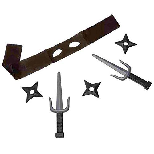 Kostüm Gabel - Amakando mit Augenmaske, Wurfsternen und Messer - 6tlg. - Waffen Set Samurai Shuriken Wurfstern Sai Gabeln Krieger Kostüm Accessoires Ninja Verkleidung Set