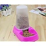 Alimentador Automático para Mascotas, Beauty DIY Mart Fuente de Alimentación Nuevo Alimentador Tazón de Alimentos de Gran Capacidad para Cachorro Gato Perrito Perro, Rosa