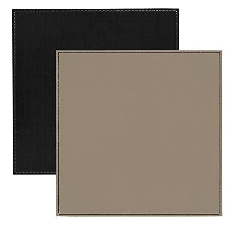 I Style réversible en imitation cuir Sets de table avec bordure point, en plastique, noir/taupe, Lot de 4