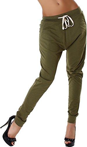 Vera & Lucy - Pantalon de sport - Sarouel - Uni - Femme Vert olive