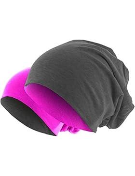 Slouch Long Beanie 2in1 Reversible Jersey Mütze in 44 Farben