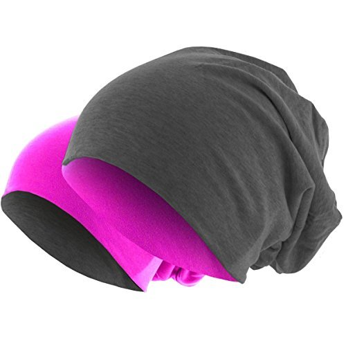 Slouch Long Beanie Reversible Strickmütze 2 in 1 Wintermütze in 48 Farben (2 in 1 pink / dunkelgrau)