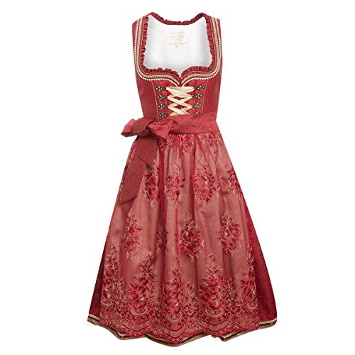 Krüger Collection Damen Trachten-Mode Midi Dirndl Dannerl in Rot traditionell
