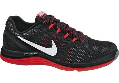 NIKE NIKE Dual Fusion Run 3, Chaussures de course à pied homme - Noir - BLACK/METALLIC SILVER-CHILLING RED-WOLF GREY,