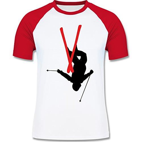 Wintersport - Freestyle Skiing - Freestyle Ski Tricks - zweifarbiges Baseballshirt für Männer Weiß/Rot