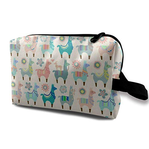 Colorful Llama Fun Toiletry Bag Waterproof Fabric Cosmetic Bags Travel Case For Women's Accessories -