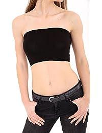 Ladies Plain Black Summer Strapless Bandeau Basic Boob Tube Crop Vest Bra Stretch Top