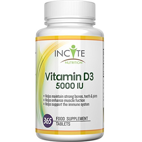 Vitamin D 3 High Strength 5000 IU 365 Tablets Cholecalciferol UK MANUFACTURED Benefits Immune System, Helps Strengthen Bones and Teeth - SMALL 6MM TABLETS not Softgels or Capsules - Good Source of Vit D - Best D3 supplement - 100 % Vegetarian Dairy and Gluten Free