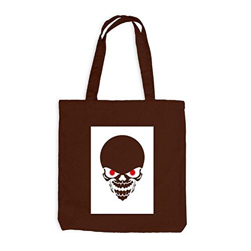 Jutebeutel - Red Eyed Halloween Skull Horror - Skelett Bone Trick Or Treat Chocolate