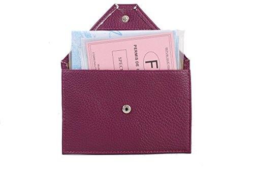Lilosac – Reisebrieftasche – Ausweissmappe – Ausweishulle – Ausweisetui - KFZ Schutzhülle – Aus echtem Leder – Papieren – Geld – Kreditkarten - (Lila)
