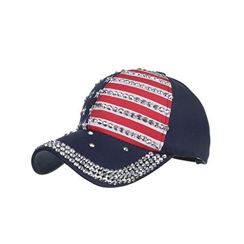 Syeytx Männer Frauen Coole Baseballmützen Amerikanische Flagge Einstellbare Baumwollkappe Stern Strass ()