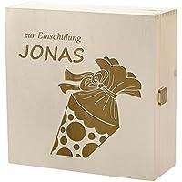 Preisvergleich für polar-effekt Kramkiste 25 x 25 cm als Geschenkidee - Holzbox mit Gravur - Motiv Zuckertüte zur Einschulung