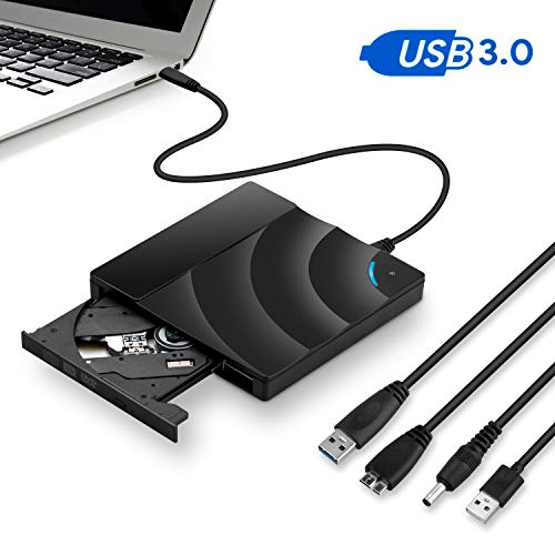 UKXHY Lettore CD Dvd Esterno, USB3.0 Masterizzatore CD Portatile per Masterizzatore di Masterizzatori, velocità unità Ottiche USB per Windows, Laptop, Mac (Nero)
