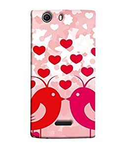 PrintVisa Designer Back Case Cover for Micromax Canvas 5 E481 (Wall Decoration Relationship Love Birds Postcard Design Celebrated Decorative Beautiful Happiness)