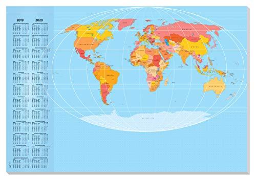 SIGEL HO440 Papier-Schreibunterlage Weltkarte, ca. DIN A2 - extra groß, mit 2-Jahres-Kalender, 30 Blatt - weiteres Design