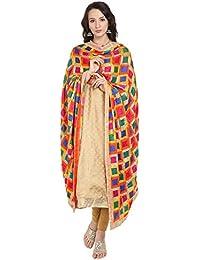 Dupatta Bazaar Women's Multicoloured Phulkari Embroidered Chiffon Dupatta