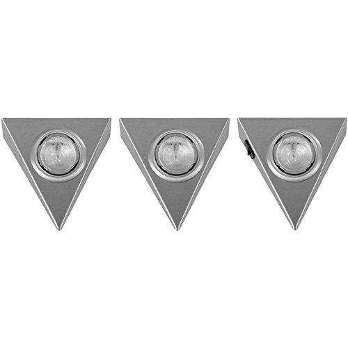 Dreieckleuchte 3er Set Halogen Pyramiden Leuchten mit Schalter ein Strahler im Set mit Hauptschalter inklusive 12 V Trafo und Stecker am Strahler AMP Stecksystem 20 Watt Unterbauleuchte mit Reflektor Anbauleuchte Unterbaustrahler Dreieck Dreieckstrahler Küche Küchenstrahler