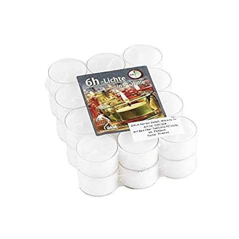 Gala Tea Lights in Clear Plastic Sleeve Ø 4 cm, White, Set of 24 (1 Set)