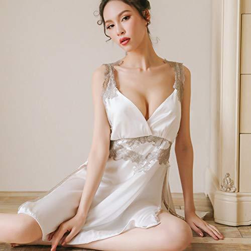 MeiLiZhiYe New Ladies Lace Sling Nachthemd Elegant Pyjamas Deep V Open Back Rock Split Gabel Nachthemd Set,Weiss,Einheitsgröße Back Rock Set
