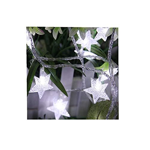 ODJOY-FAN Draussen Wasserdicht Sternenlicht Fernbedienung LED Laternenpfahl Zeichenfolge Licht Dimmbar Mit Fernbedienung Steuerung 5M 40led Beleuchtung Weihnachten Licht (Weiß,1 PC)