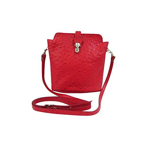 Vera Italian morbida in pelle o struzzo effetto, a croce corpo o borsa a tracolla borsetta Beige Rose Gold Red Ostrich
