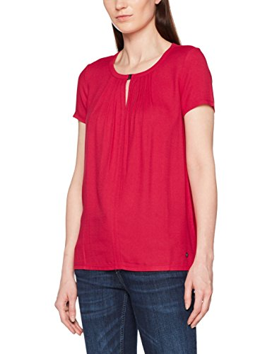 Tom Tailor Fabric Mix Pleat, T-Shirt Donna Rosa (Permanent Rose 4760)