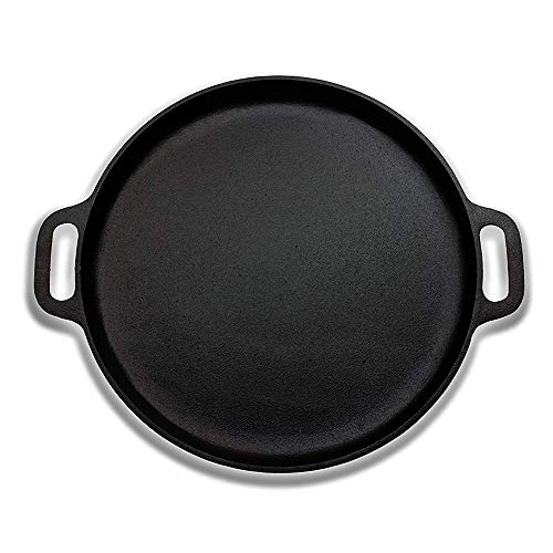 LARRY SHELL Premium-Qualität Cast Iron Pizza Pan-Vorgewürzte Runde Oven Griddle/Grill-12 ' ' Durchmesser-geeignet für alle Kinds of Ovens-Heats & Bakes Evenly Lodge Cast Iron Pizza Pan