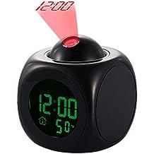 Radio Reloj Digital de Proyección de Reloj, Reloj Silencioso Reveille LED con Función Snooze, Reloj Multifuncional de Calendario, Temperatura y la Luz de Fondo, Linterna, Control de Voz