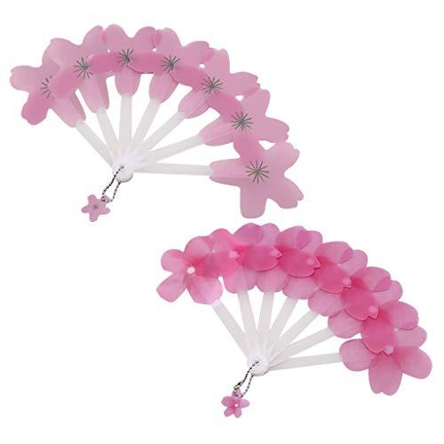 Yue668 2Pcs Kunststoff Mini Hand Fan Blume Form Faltfächer für Sommer Mädchen Frauen Jungen