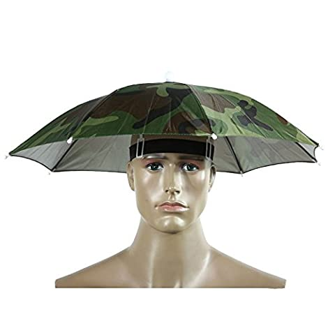 Umbrella Hat,Multi Coloured Umbrella Novelty Rain Headwear Cap By Sunshine D Festival Essential Ladies Mens Adult Fancy Dress Accessory For Golf Fishing Camping Camouflage