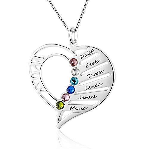 Grand Made Personalisierte Mutter Name Herz Halskette 6 Simulierte Birthstones 925 Sterling Silber Mutter Kind Halskette für Ehefrau Mutter