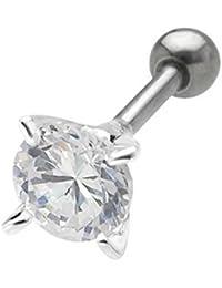 Ohr Piercing Tragus Helix Ohrschmuck Kristall Stein rund, 316L Edelstahl Barbell, 925 Silber Fassung - TIP155