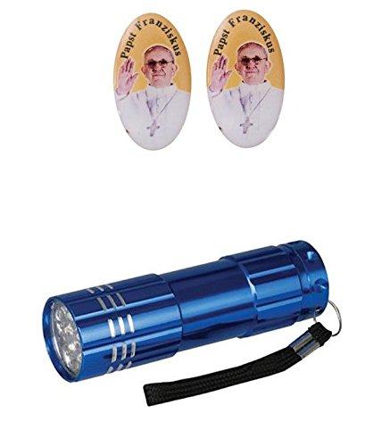 Zisaline-Kombi 30er Pack Bildaufkleber Resin oval Papst Franziskus 3 cm (951988319236478) mit LED Alu Taschenlampe