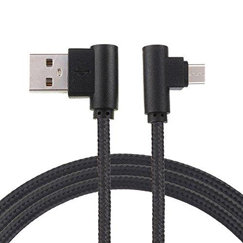 Kingko® 1M, 2M, 3M, Datenkabel USB-Datenkabel 90 Grad rechtwinklig 2A Fast Data Sync Ladekabel (Schwarz, 3M) (Motorola Bluetooth-camcorder)