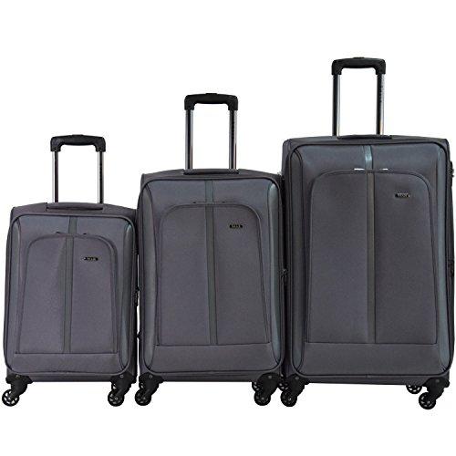 SHAIK® Serie SOMLA Design BSL 3 Größen M | L | XL | Set | Softcase Weichgepäck Kofferset, 4 Doppelrollen, Zahlenschloss (3er Set, Grau) (Medium Duffle Wheeled)