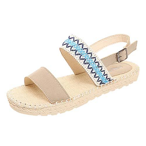 ❤AG&T❤ Sandalen Damen, Frauen Bohemian Tuch Offene Spitze Schnalle Flache Schuhe Mode Lässig Sexy Stroh weben National Beach Style Sandalen -