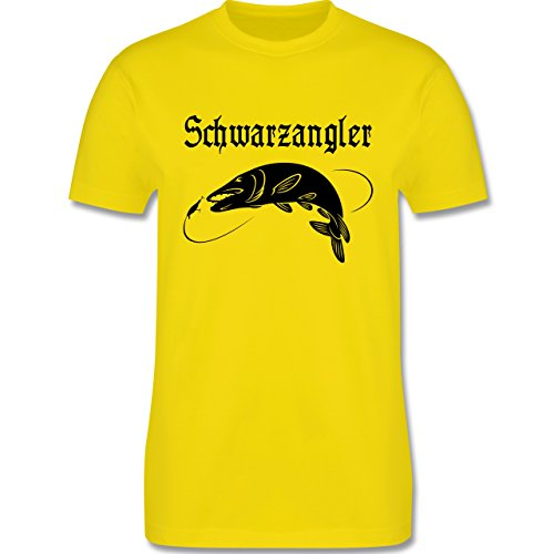Angeln - Schwarzangler - Herren Premium T-Shirt Lemon Gelb