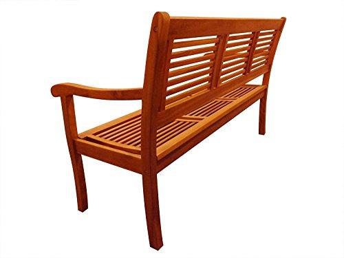 SAM® Garten-Bank Cordoba aus Akazie-Holz, 150 cm Breite, 3 Sitzer Holzbank, Balkon-Bank aus Akazie-Holz geölt, Garten-Möbel in braun, Massiv-Holz-Bank für Terrasse - 2