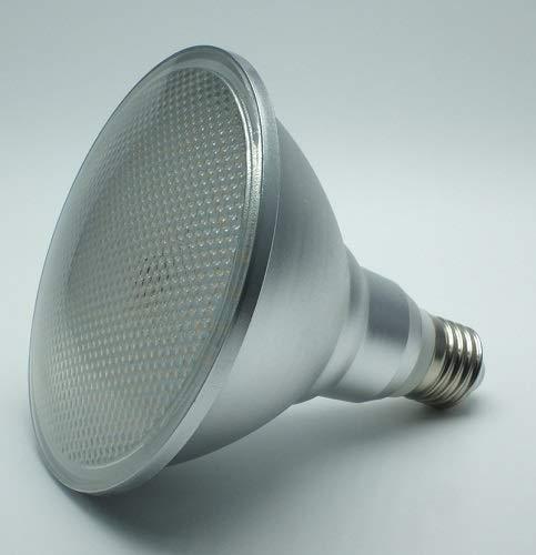 15 Watt PAR 38 LED Lampe, Strahler, Fassung E27, Lichtfarbe warmweiß 2700 Kelvin, 1250 Lumen entspricht ca. 120 Watt Glühlampe, 120° Ausstrahlwinkel. Schutzklasse IP44 für Innen und Außen