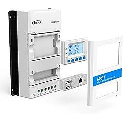 Controlador de carga solar serie TRTON 10A-40A MPPT 12V / 24VDC Regulador de panel solar automático Pantalla LCD Módulo de salida USB dual para teléfonos móviles Baterías de litio de plomo ácido