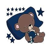 Nikgic. Créatif Chambre d'enfant Mignon Ours endormi Sticker Mural 36 * 30cm
