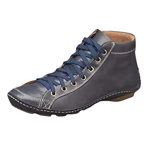 DOLLAYOU Stiefeletten Damen Mit Absatz Flach Leder Reißverschluss Riemchen Wasserdicht Stiefel Elegant Vintage Schuhe Herbst Winter Boots Bequem