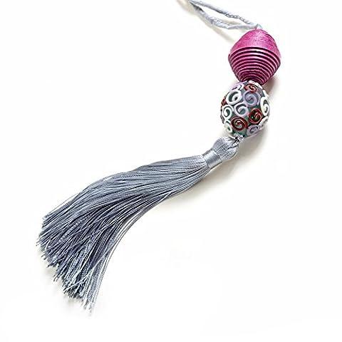 nicitta Milano Halskette mit Elementen aus Papier von Baumwolle und Leinen, recyceltes Glas und Perle venezianische Lume