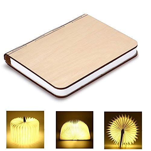 GEEDIAR Libro Lámpara LED Luces Plegables de Madera, Luz del Libro de Estilo USB, 2500mAh Lithium Batteries Booklight, Lámpara de Mesa, Luces Decorativas, Luces de Escritorio, Blanco