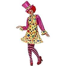 SMIFFYS Costume da clown donna, multi-colore abito con cappuccio, camicia, papillon, col