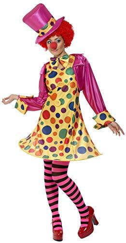 Clown Damenkostüm Mehrfarbig Reifkleid Hemd Fliege Gestreifte Strumpfhose Hut, X-Large (Herren Zirkus Ringmaster Kostüm)