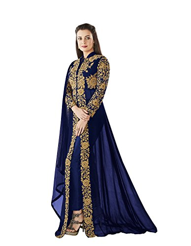 MONIKA SILK MILL Women's Georgette Dress Material (Dia-8005_Free Size_Blue)