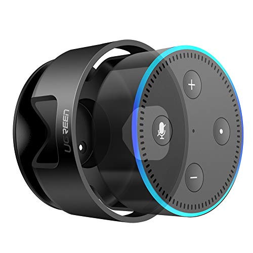 UGREEN Dot Halterung Wandhalterung Ständer Halter Zubehör für Echo Dot 2. Generation, Kabel ordentlicher, 3M Aufkleber in Wohnzimmer, Badezimmer, Schlafzimmer usw. schwarz