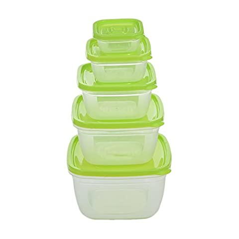 5pcs Square Plastic Food Storage Bowl Food Containers Set with