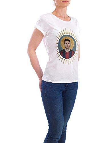 """Design T-Shirt Frauen Earth Positive """"Ikone Messi"""" - stylisches Shirt Sport / Fußball von David Diehl Weiß"""